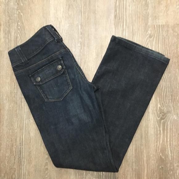 Ann Taylor Denim - Ann Taylor Jeans 4 bootcut dark wash snap pockets